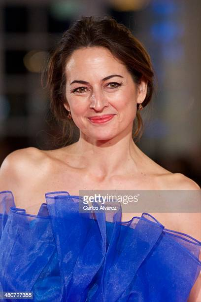 Spanish actress Cuca Escribano attends the Por un Punado de Besos premiere during the 17th Malaga Film Festival 2014 Day 6 at the Cervantes Theater...