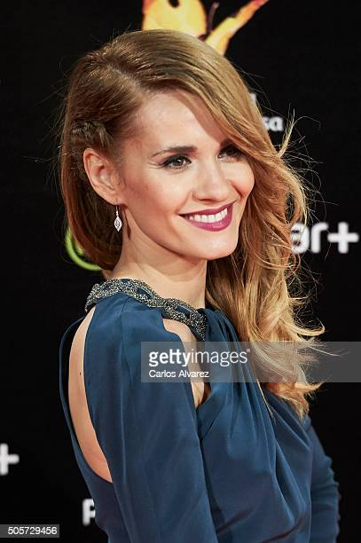 Spanish actress Elena Ballesteros attends the Feroz Awards 2016 red carpet at the Gran Teatro Principe Pio on January 19 2016 in Madrid Spain