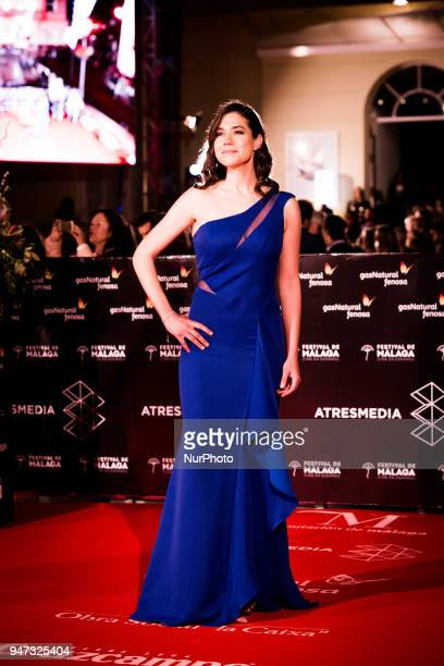 Spanish actress Elena Martinez poses on the red carpet outside of the Cervantes Theatre on April 16 2018 in Malaga Spain during 21th International...