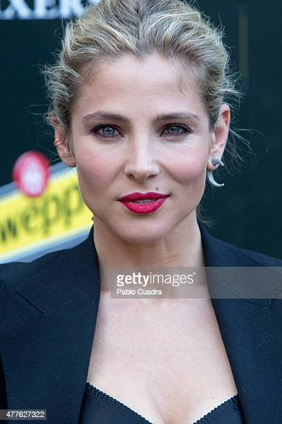 Spanish actress Elsa Pataky presents the new Hibiscus by Schweppes at Ferrocarril Museum on June 18 2015 in Madrid Spain