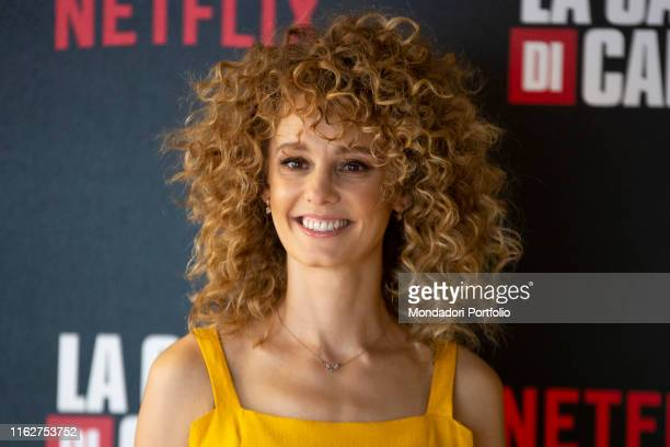 Spanish actress Esther Acebo attends to the presentation of the third season of 'Money Heist' at the Palace of the Anteo Cinema July 17 2019 in Milan...