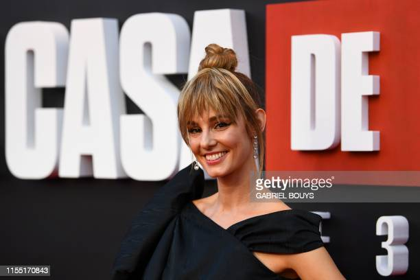 Spanish actress Esther Acebo poses during a photocall for the presentation of the third season of the Spanish TV show La Casa de Papel in Madrid on...