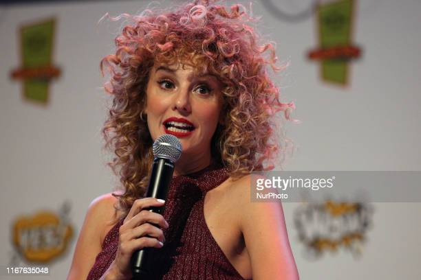 Spanish actress Esther Acebo speaks during the Comic Con Portugal 2019 on the Day 1 in Lisbon Portugal on September 12 2019