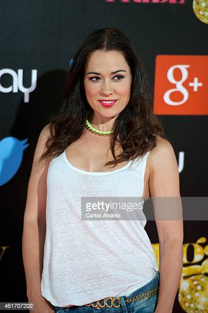 Spanish actress Eva Marciel attends the Shangay Pride concert at the Vicente Calderon stadium on July 4 2014 in Madrid Spain