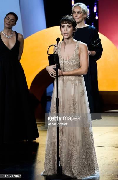 Spanish actress Greta Fernandez receives best actress award during the ceremony on the closure day of 67th San Sebastian International Film Festival...