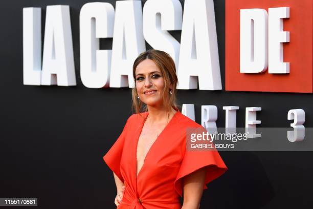Spanish actress Itziar Ituno poses during a photocall for the presentation of Spanish TV show La Casa de Papel 3rd season on July 11 2019 in Madrid