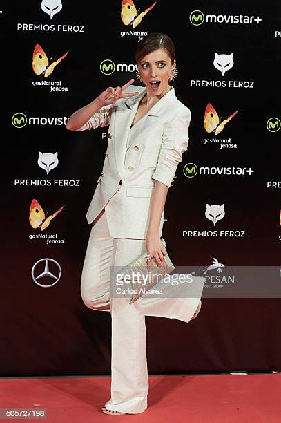Spanish actress Leticia Dolera attends the Feroz Awards 2016 red carpet at the Gran Teatro Principe Pio on January 19 2016 in Madrid Spain