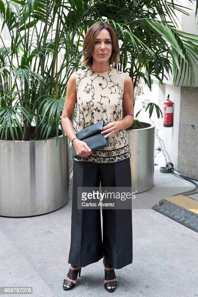 Spanish actress Lydia Bosch attends the Hannibal Laguna show during the Madrid Bridal Week 2017 at Palacio de Cibeles on April 18 2017 in Madrid Spain