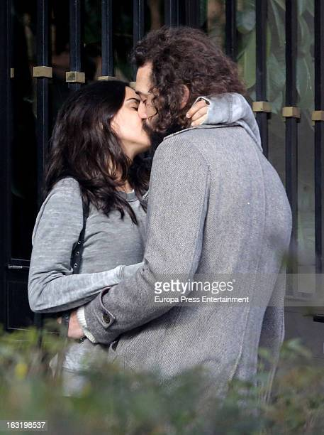 Spanish actress Macarena Garcia and her boyfriend are seen on March 5 2013 in Madrid Spain