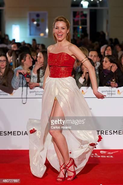Spanish actress Maggie Civantos attends the Por un Punado de Besos premiere during the 17th Malaga Film Festival 2014 Day 6 at the Cervantes Theater...
