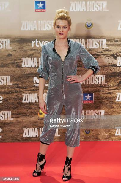 Spanish actress Maggie Civantos attends 'Zona Hostil' premiere at the Kinepolis cinema on March 9, 2017 in Madrid, Spain.