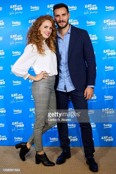 Spanish actress Maria Castro and Olympic Medalist Saul Craviotto attend 'Eat Like A Pro con Martin Berasategui' presentation at Montesa Club on...