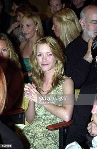 Spanish actress Maria Estevez sits in the audience at the closing ceremony of the 2nd International film festival of Gran Canary March 31 2001 in Las...
