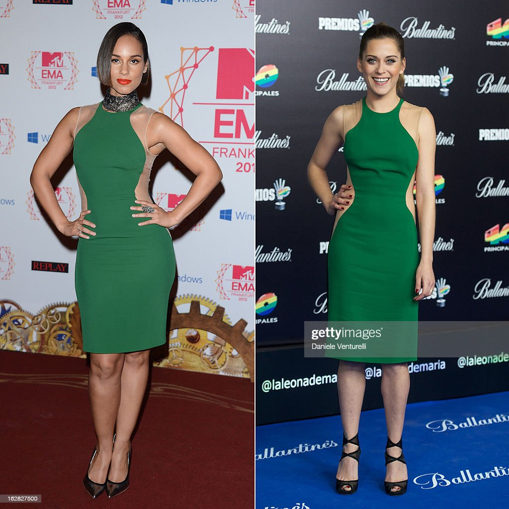 In this composite image a comparison has been made between Alicia Keys (L) and Maria Leon (R) for a Celebrity Same Dresses feature. Alicia Keys attends the MTV EMA's 2012 at Festhalle Frankfurt on November 11, 2012 in Frankfurt am Main, Germany. Spanish actress Maria Leon attends '40 Principales Awards' 2012 photocall at Palacio de los Deportes on January 24, 2013 in Madrid, Spain.