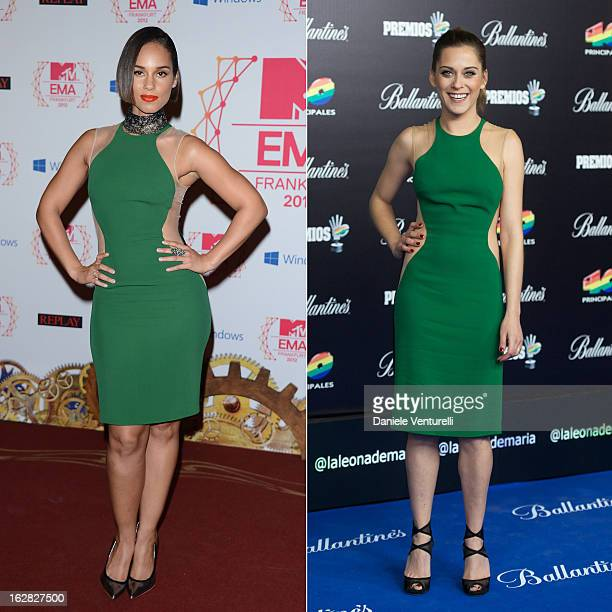 In this composite image a comparison has been made between Alicia Keys and Maria Leon for a Celebrity Same Dresses feature FRANKFURT AM MAIN GERMANY...