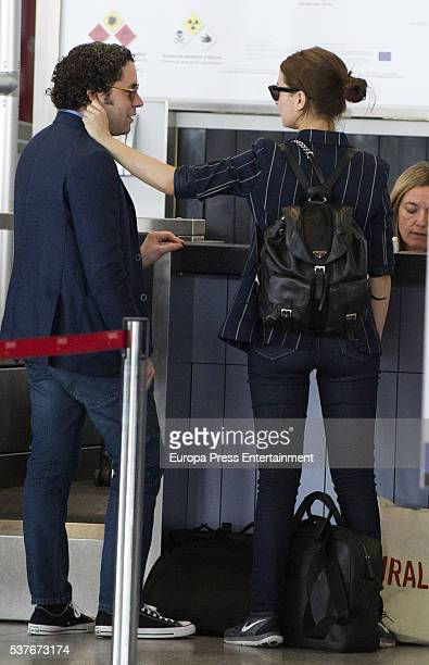 Spanish actress Maria Valverde and Venezuelan conductor and violinist Gustavo Dudamel are seen on April 27 2016 in Malaga Spain