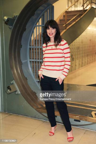 Spanish actress Maribel Verdu ambassador of the 2030 Agenda poses after read a declaration in favor of the Sustainable Development Goals marked by...