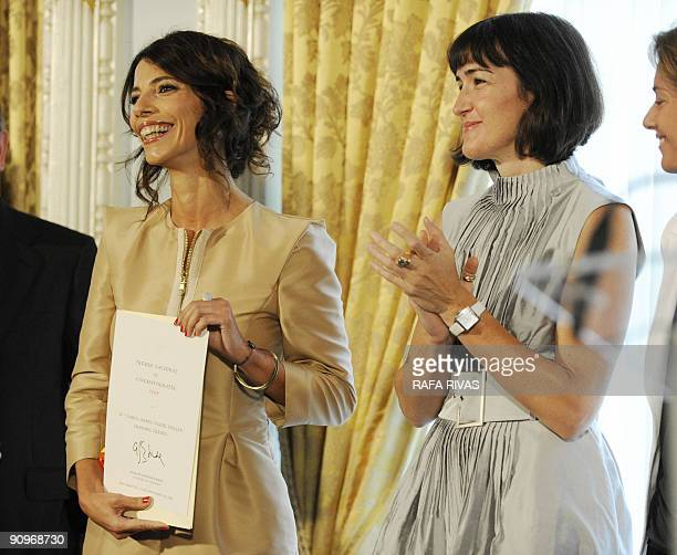 Spanish actress Maribel Verdu smiles after receiving the Premio Nacional de Cinematografia from the Spanish Government Culture Minister Angeles...