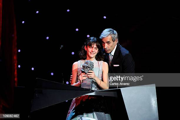 Spanish actress Marina Comas receives the Best Promise actress Goya Award for Pa Negre from actor Imanol Arias during the Goya cinema Awards 2011...