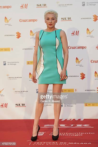 Spanish actress Mariola Fuentes attends La Deuda premiere at the Cervantes Theater during the 18th Malaga Film Festival on April 18 2015 in Malaga...