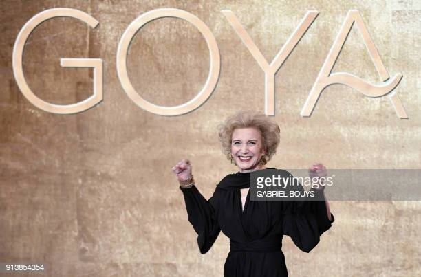 TOPSHOT Spanish actress Marisa Paredes acknowledges the public before receiving an honorary award for her career at the 32nd Goya awards ceremony in...