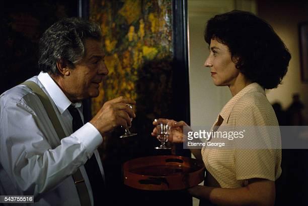 Spanish actress Marisa Paredes and Italian actor Marcello Mastroianni on the set of Tres Vidas E Uma So Morte directed by Chilean director Raoul Ruiz