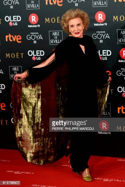 Spanish actress Marisa Paredes poses on the red carpet at the 32nd Goya awards ceremony in Madrid on February 3 2018 / AFP PHOTO / PIERREPHILIPPE...