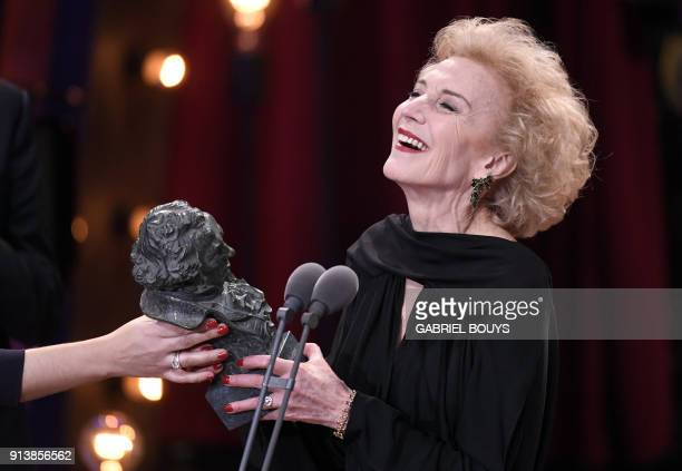 Spanish actress Marisa Paredes receives an honorary award for her career at the 32nd Goya awards ceremony in Madrid on February 3 2018 / AFP PHOTO /...