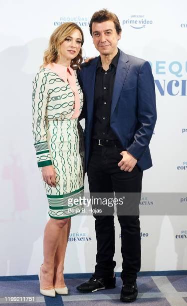 Spanish actress Marta Hazas and spanish actor Javier Veiga attends to photocall of 'Pequeñas Coincidencias' Season 2 on January 13 2020 in Madrid...