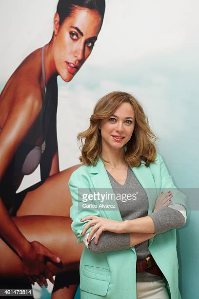 Spanish actress Marta Hazas presents the official cosmetic for the next Goya Cinema Awards Germaine de Capuccini at the Academia de Cine on January...
