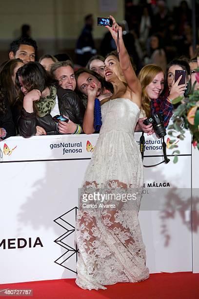 Spanish actress Megan Montaner attends the Por un Punado de Besos premiere during the 17th Malaga Film Festival 2014 Day 6 at the Cervantes Theater...