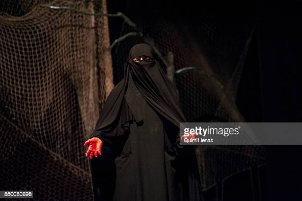 Spanish actress Meme Tabares performs during the dress rehearsal of the play 'Contra la Democracia' by Esteve Soler on stage at the Galileo Theatre...