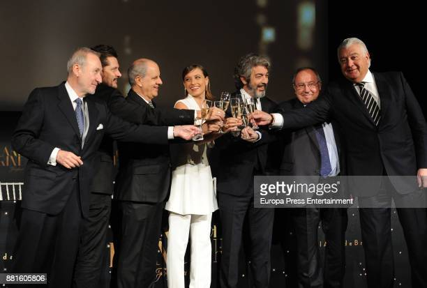 Spanish actress Michelle Jenner Argentinian actor Ricardo Darin and Jose Luis Bonet attend the premiere of 'Freixenet' Christmas spot at Duque de...