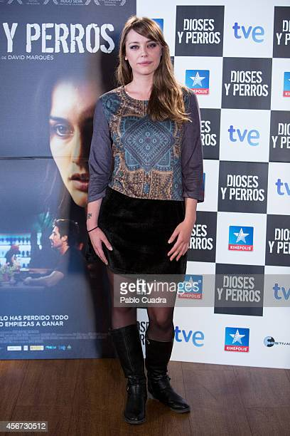 Spanish actress Miriam Benoit poses during a photocall to present 'Dioses Y Perros' film at Kinepolis cinema on October 6 2014 in Madrid Spain