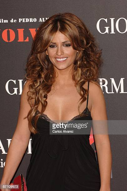 Spanish actress Monica Cruz sister of Penelope Cruz attends the Spanish premiere for 'Volver' at the Palacio de la Musica Cinema on March 16 2006 in...