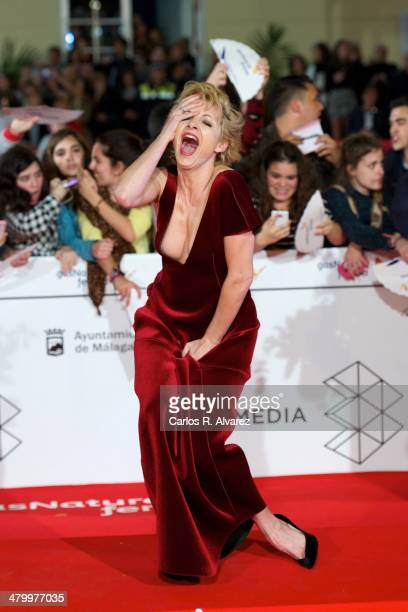 Spanish actress Najwa Nimri attends the 17th Malaga Film Festival 2014 opening ceremony at the Cervantes Theater on March 21, 2014 in Malaga, Spain.