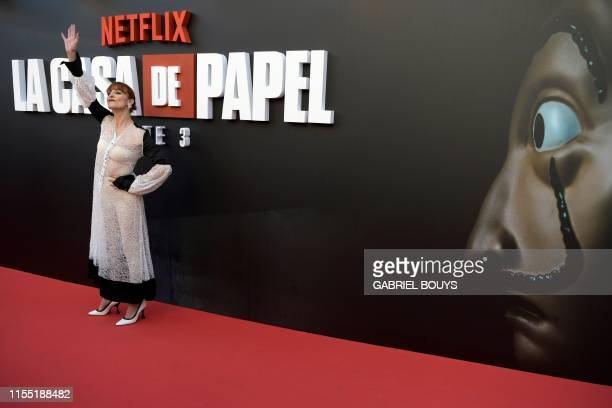 Spanish actress Najwa Nimri poses during a photocall for the presentation of Spanish TV show La Casa de Papel 3rd season on July 11 2019 in Madrid