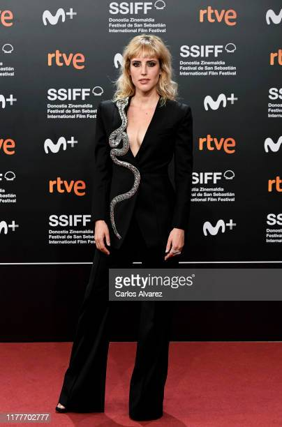 Spanish actress Natalia attends the red carpet on the closure day of 67th San Sebastian International Film Festival on September 28, 2019 in San...