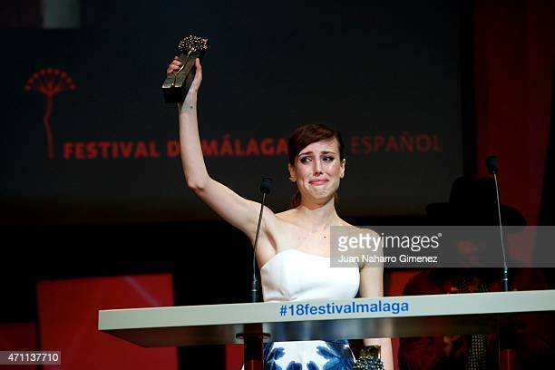 Spanish actress Natalia de Molina receives Best Actress Silver Biznaga award by 'Techo y Comida Film' during the 18th Malaga Spanish Film Festival at...