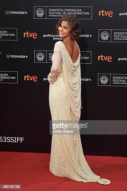Spanish actress Natalia Sanchez attends the closing ceremony red carpet of the 63rd San Sebastian International Film Festival at the Kursaal Palace...