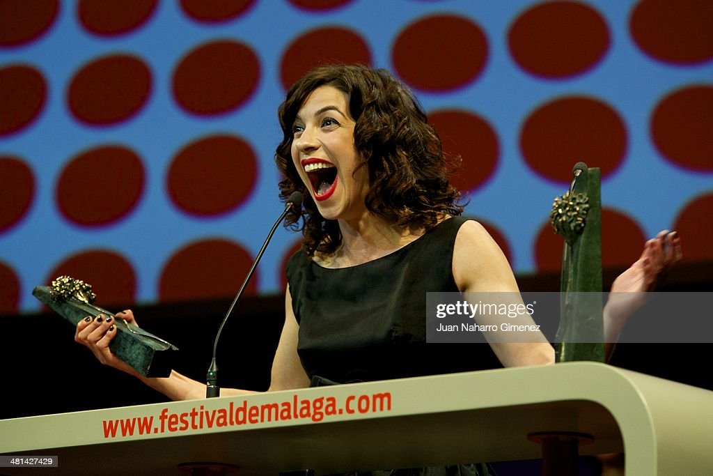 Spanish actress Natalia Tena receives the 'Biznaga' award as best actress for her film '10.000 Km' during the 17th Malaga Film Festival 2014 closing ceremony at the Cervantes Theater on March 29, 2014 in Malaga, Spain.