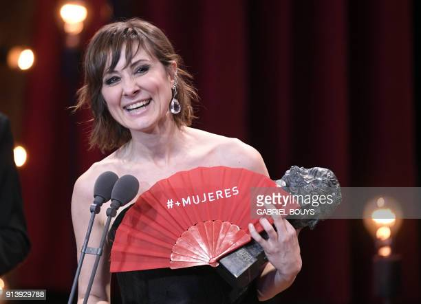 Spanish actress Nathalie Poza receives the best actress award for her role in 'No se decir adios' at the 32nd Goya awards ceremony in Madrid on...