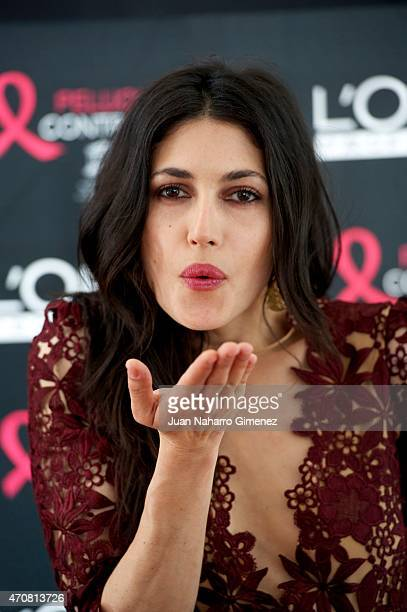 Spanish actress Nerea Barros receives the L'Oreal Beauty award 2014 during the 18th Malaga Spanish Film Festival at the AC Hotel on April 23 2015 in...