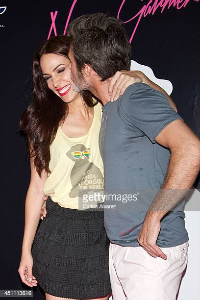 Spanish actress Nerea Garmendia and husband Spanish actor Jesus Olmedo attend the 'By Nerea' new fashion collection at the Larios Cafe on June 23...