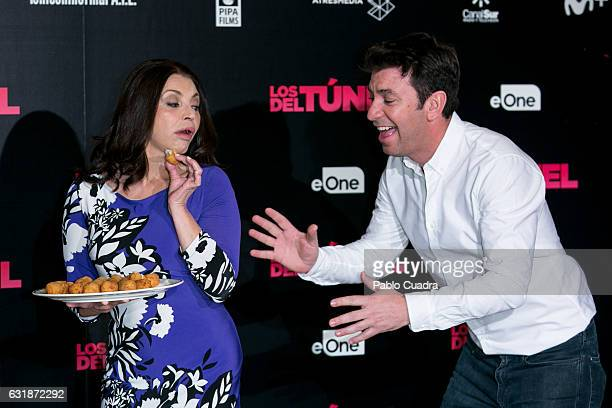 Spanish actress Neus Asensi and actor Arturo Valls attend the 'Los Del Tunel' photocall at Palafox Cinema on January 17 2017 in Madrid Spain