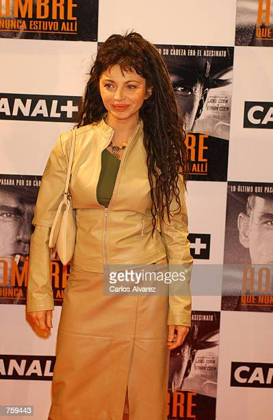 Spanish actress Neus Asensi attends the Spanish premiere of the film The Man Who Wasn''t There at the Palacio de la Musica Cinema April 10 2002 in...