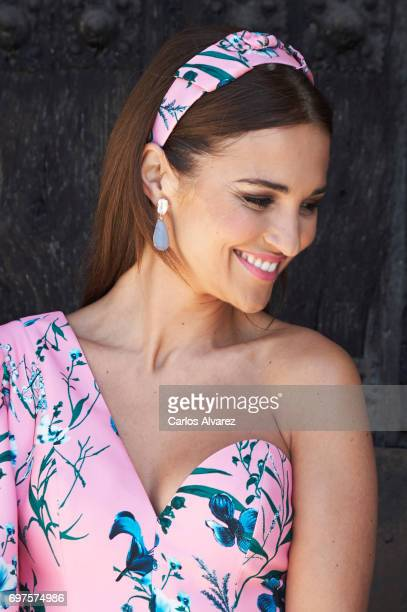 Spanish actress Paula Echevarria attends Daniella Bustamante First Communion at the Nuestra Senora de los Angeles Church on June 17 2017 in San...