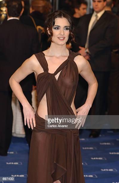 Spanish actress Paz Vega arrives for the 16th Goya Cinema Awards February 2 2002 in Madrid Spain