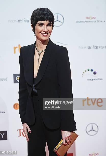 Spanish actress Paz Vega attends the Jose Maria Forque Awards 2016 at Teatro de la Maestranza on January 14, 2017 in Seville, Spain.