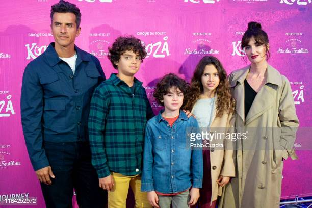 Spanish actress Paz Vega her husband Orson Salazar and their sons Ava Salazar Lenon Salazar and Orson Salazar Jr attend the Cirque Du Soleil 'Kooza'...